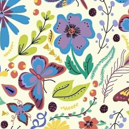 Butterfly Floral Cotton from Juniper by Jessica VanDenburgh - The Village Haberdashery