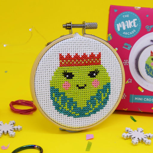 The Make Arcade Mini Christmas Cross Stitch Kit - Sprout - The Village Haberdashery