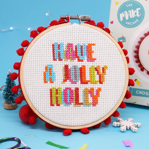 The Make Arcade Christmas Cross Stitch Kit - Jolly Holly - The Village Haberdashery