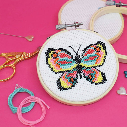 The Make Arcade Mini Cross Stitch Kit - Butterfly - The Village Haberdashery