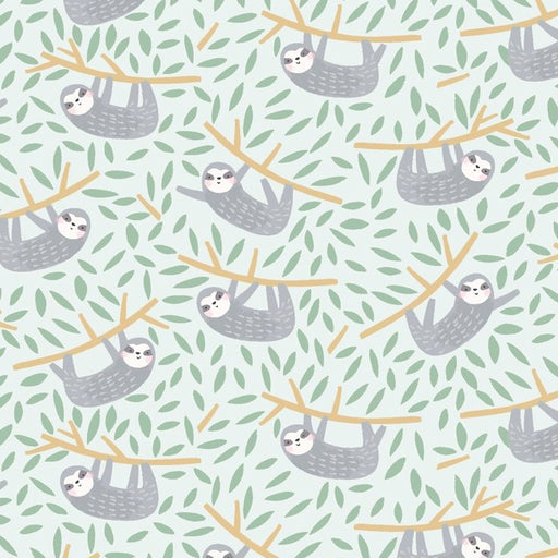 Sloth Mist Cotton from Born to be Wild - The Village Haberdashery