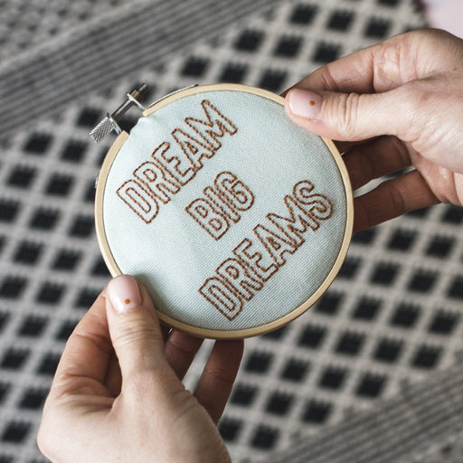 'Dream Big Dreams' Mini Embroidery Hoop Kit by Cotton Clara - The Village Haberdashery