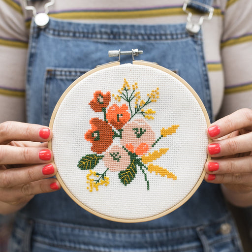 Amethyst Floral Cross Stitch Hoop Kit by Cotton Clara x Zoe Frost - The Village Haberdashery