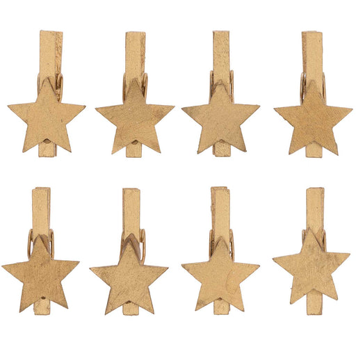 Gold Wood Star Pegs - The Village Haberdashery