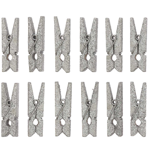 Silver Glitter Pegs - The Village Haberdashery