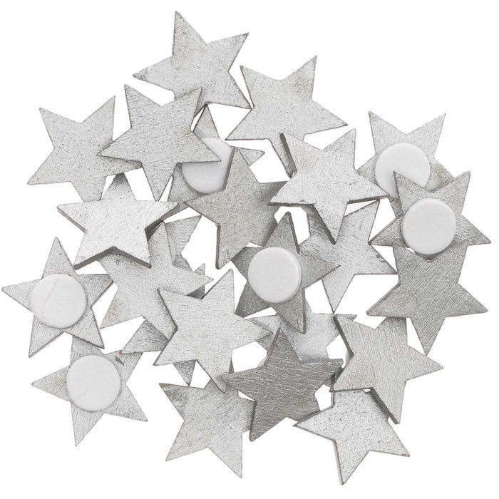 Silver Wood Star Stickers - The Village Haberdashery
