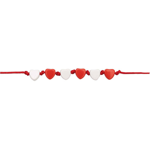 Bead Mix - Red & White Hearts - The Village Haberdashery