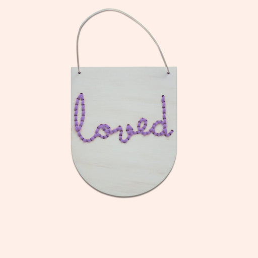 'Loved' - Mini Script Embroidery Board Kit in Lilac by Cotton Clara - The Village Haberdashery