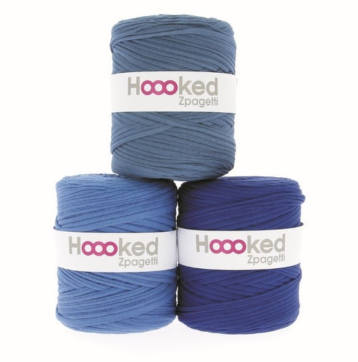 Hoooked Zpagetti T-Shirt Yarn - 120m Bobbins - Mid Blue Shades - The Village Haberdashery