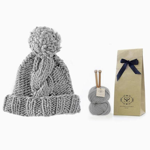 Fossil Grey Big Alps Beanie Knit Kit by Stitch & Story - The Village Haberdashery
