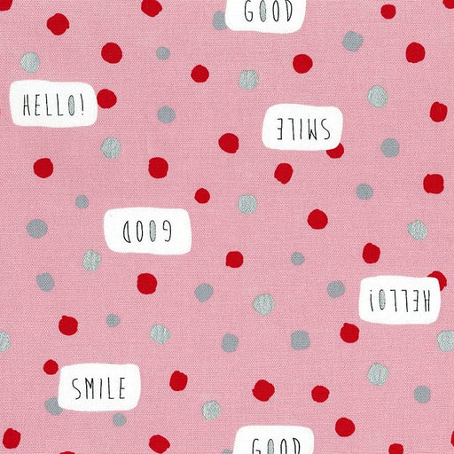 Pink Hello Cotton Canvas from Lecien - The Village Haberdashery
