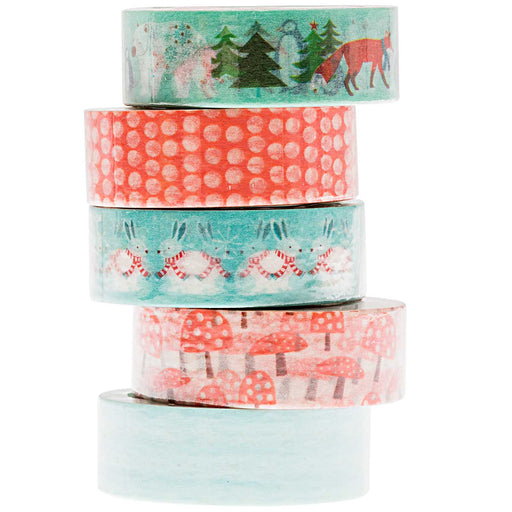 Mint & Red Winter Forest Washi Tape Set - The Village Haberdashery