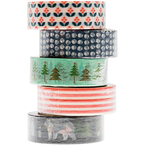 Blue & Red Winter Forest Washi Tape Set - The Village Haberdashery