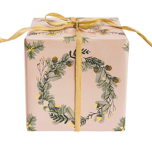 Gift Wrap - Classical Christmas Foil in Dove Grey - The Village Haberdashery