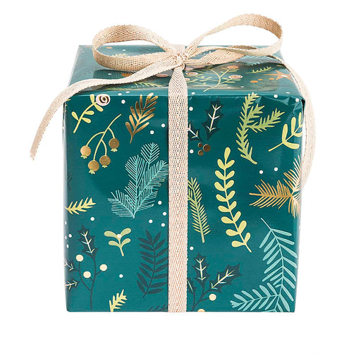 Gift Wrap - Classical Christmas Foil in Green - The Village Haberdashery