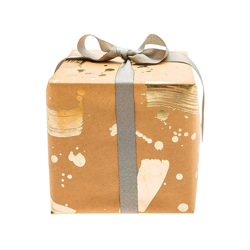 Gift Wrap - Kraft Gold Brush Strokes - The Village Haberdashery