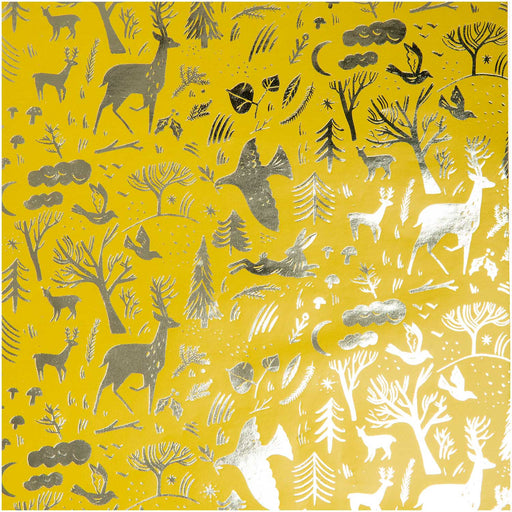 Gift Wrap - Nostalgic Christmas - Gold Forest - The Village Haberdashery