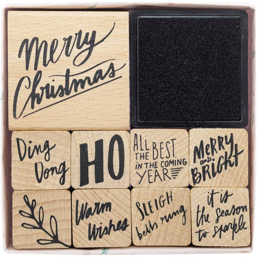Stamp and Ink Set - Jolly Christmas Lettering - The Village Haberdashery