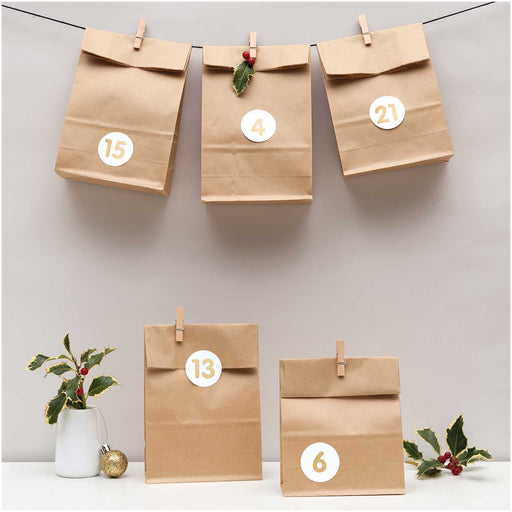 Advent Calendar Kraft Bag Garland Kit - The Village Haberdashery