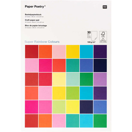 Super Rainbow 180gsm Paper Pad - 30 Sheets A4 - The Village Haberdashery