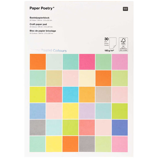 Super Pastel 180gsm Paper Pad - 30 Sheets A4 - The Village Haberdashery