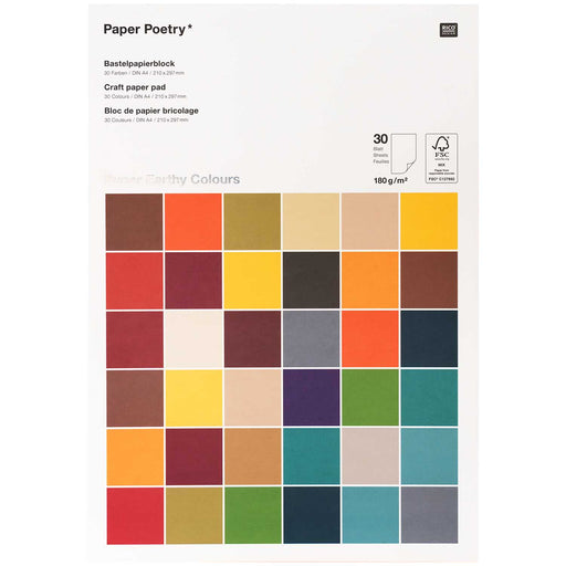 Earthy Tones 180gsm Paper Pad - 30 Sheets A4 - The Village Haberdashery