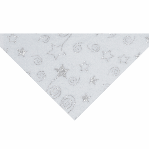 Crafts - Felt Roll - White Glitter Stars & Swirls