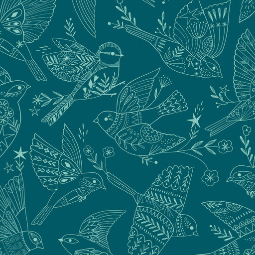 Teal Songbirds Cotton from Aviary by Bethan Janine - The Village Haberdashery