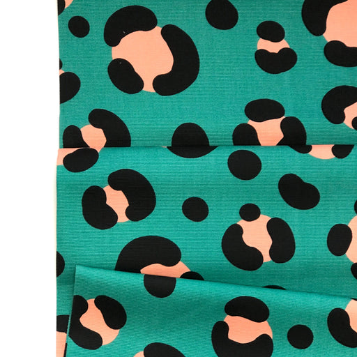 Teal Acid Leo Cotton Canvas - 62cm Remnant - The Village Haberdashery