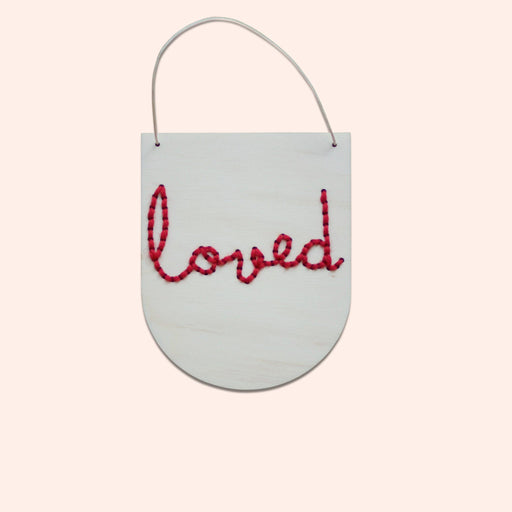 'Loved' - Mini Embroidery Board Kit in Red by Cotton Clara - The Village Haberdashery