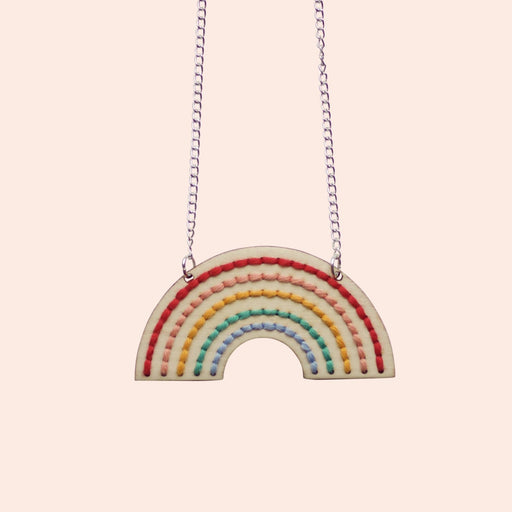 Wooden Rainbow Necklace Embroidery Kit by Cotton Clara - The Village Haberdashery