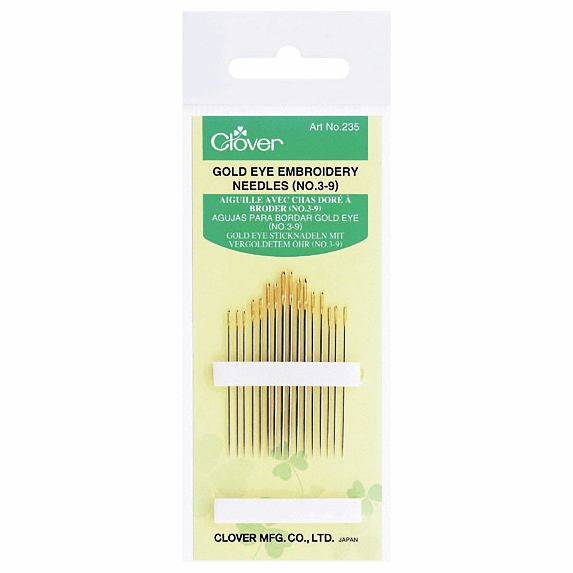 Clover Gold Eye Embroidery Needles (No 3-9) - The Village Haberdashery