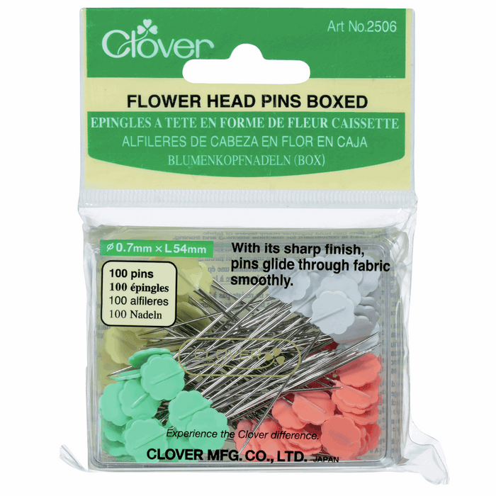 Clover Flower Head Pins Boxed - The Village Haberdashery