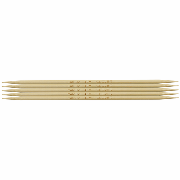 Clover Bamboo Double Pointed Knitting Needles - 16cm x 4mm - The Village Haberdashery
