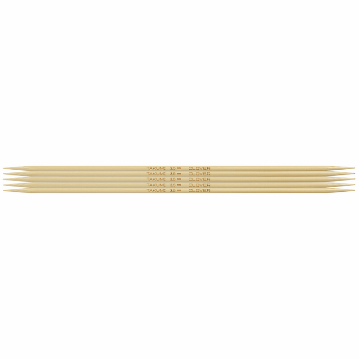 Clover Bamboo Double Pointed Knitting Needles - 20cm x 3.5mm - The Village Haberdashery