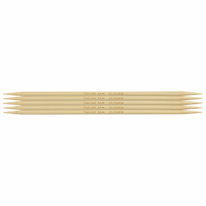 Clover Bamboo Double Pointed Knitting Needles - 20cm x 5mm - The Village Haberdashery