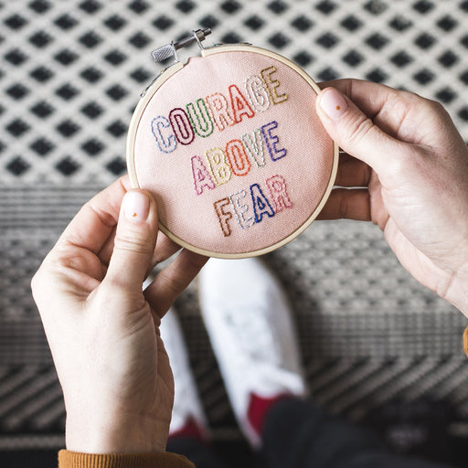 'Courage Above Fear' Mini Embroidery Hoop Kit by Cotton Clara - The Village Haberdashery