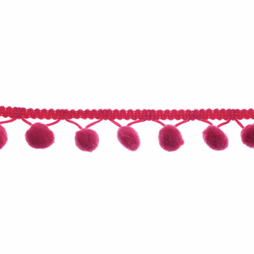 Pom Pom Trim - Cerise - 20mm - The Village Haberdashery