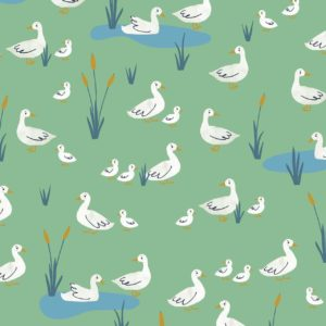 Green Geese Cotton from Farm Days by Kate Jones - The Village Haberdashery