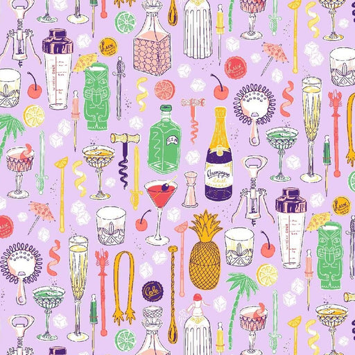 Lilac Bottles & Shakers Cotton from Clink by Jacqueline Colley - The Village Haberdashery