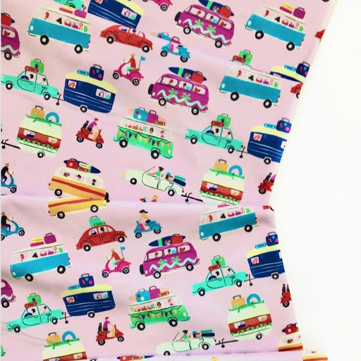 Pink Holiday Vehicles Cotton from Lazy Days by Louise Cunningham - The Village Haberdashery