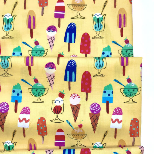 Yellow Ice Creams Cotton from Lazy Days by Louise Cunningham - The Village Haberdashery