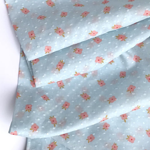 Pale Blue Floral Swiss Dot Cotton - The Village Haberdashery