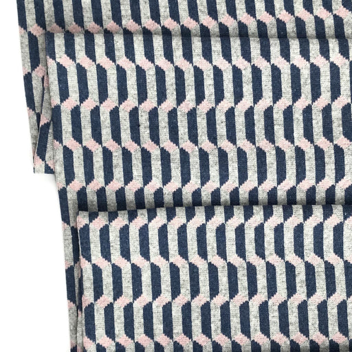 Navy and Peach Optic Recycled Jacquard Jersey - The Village Haberdashery