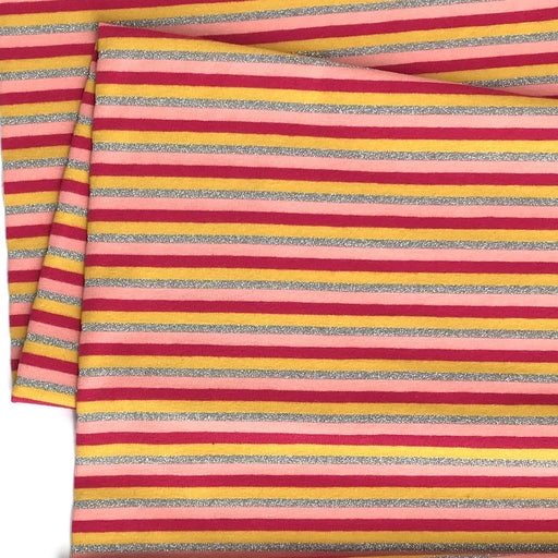 Red Metallic Multi Stripe Jersey - The Village Haberdashery