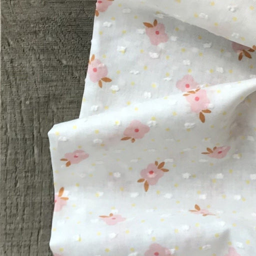 White Floral Swiss Dot Cotton - The Village Haberdashery