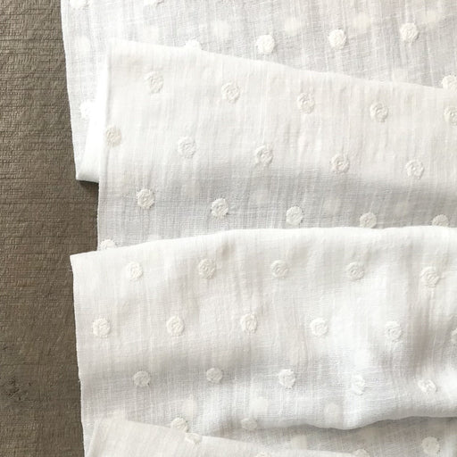 White Dots Embroidered Cotton - The Village Haberdashery