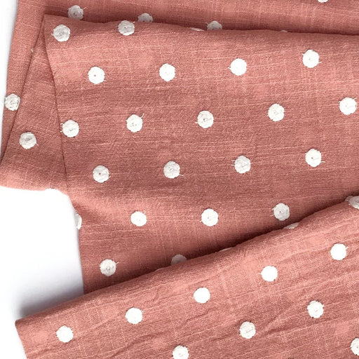 Rose and White Dots Embroidered Cotton - The Village Haberdashery