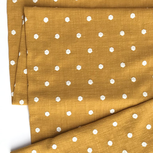 Mustard and White Dots Embroidered Cotton - The Village Haberdashery