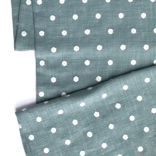 Mint and White Dots Punch Needle Cotton - The Village Haberdashery
